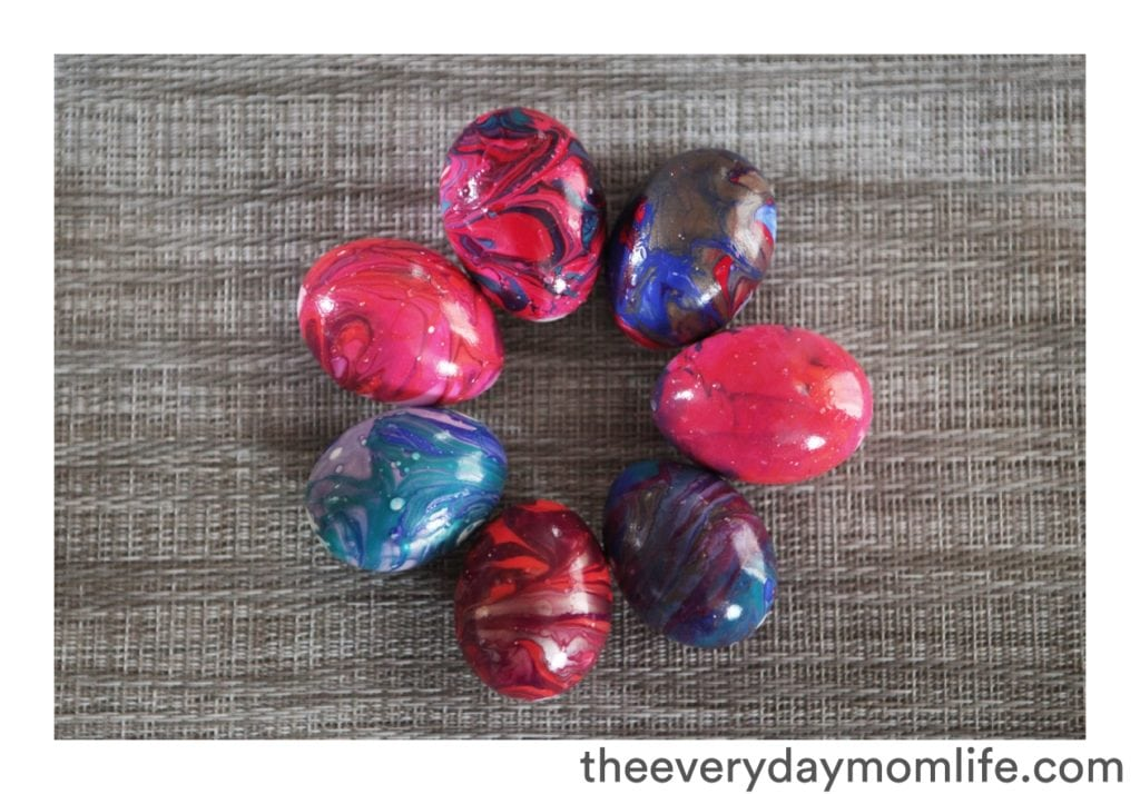 Nail Polish Tie-Dyed Easter Egg Decoration Ideas