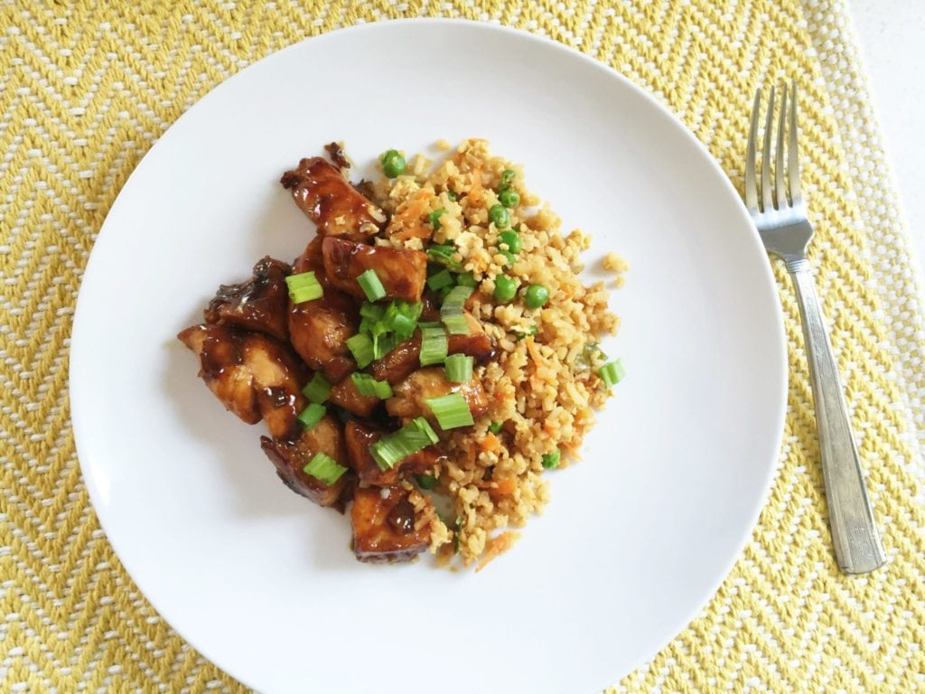Quick Cauliflower Fried Rice With Teriyaki Chicken recipe