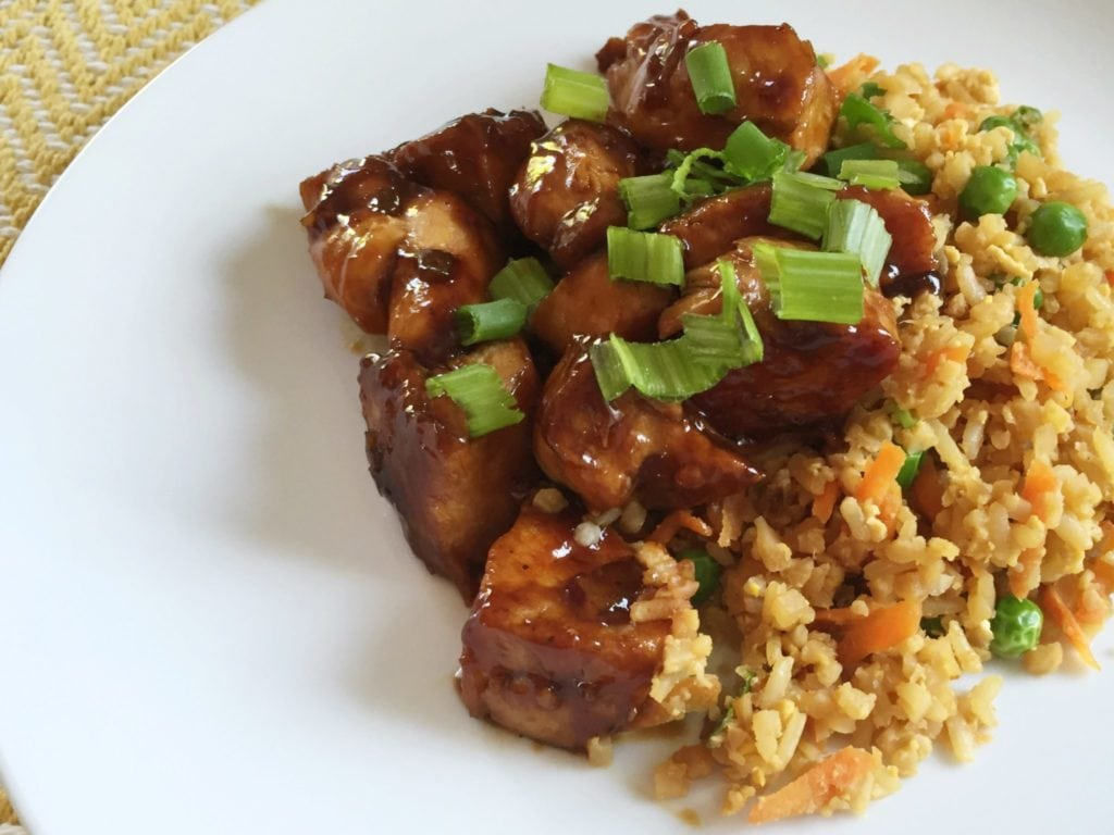 Quick Cauliflower Fried Rice With Teriyaki Chicken