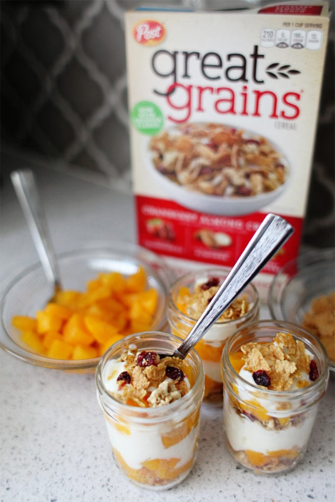 Cereal parfaits for after school snacks with Great Grains - The Everyday Mom Life