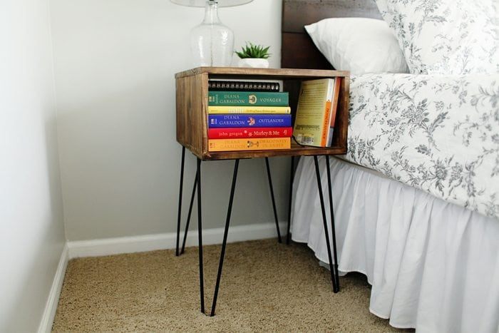 make your own diy hairpin nightstand side tables. Black Bedroom Furniture Sets. Home Design Ideas