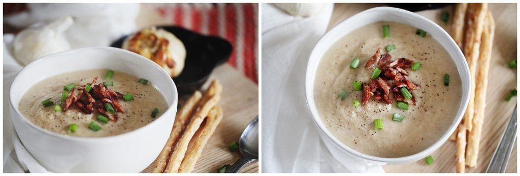 roasted cauliflower and garlic soup - The Everyday Mom Life