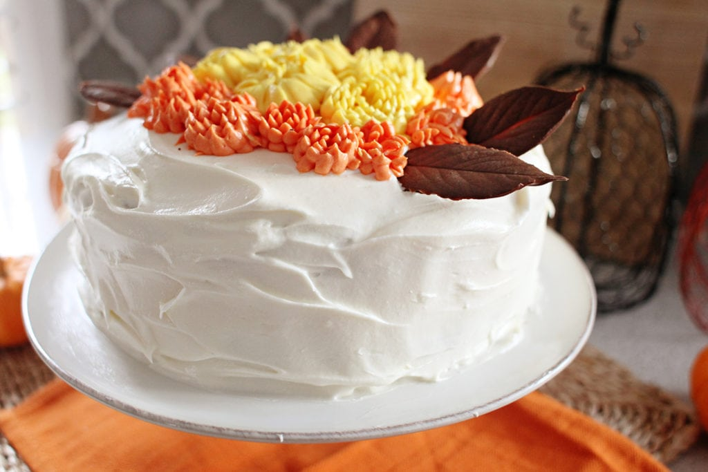 Pumpkin Cake with Cream Cheese Frosting & Chocolate Leaves - The Everyday Mom Life
