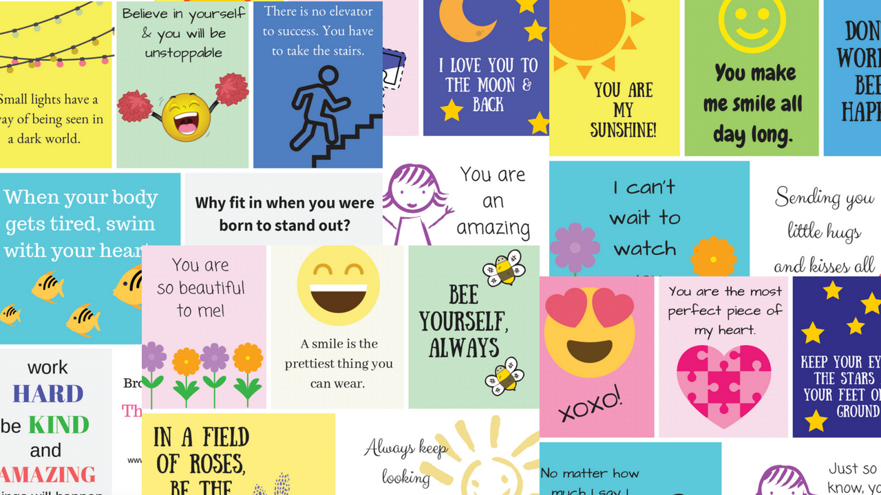 graphic relating to Free Printable Lunchbox Notes for Husband named Cost-free, Pleasurable Motivational Lunch Box Notes For Small children