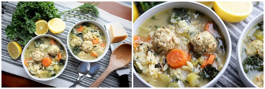 Lemon Orzo Soup with Chicken Meatballs