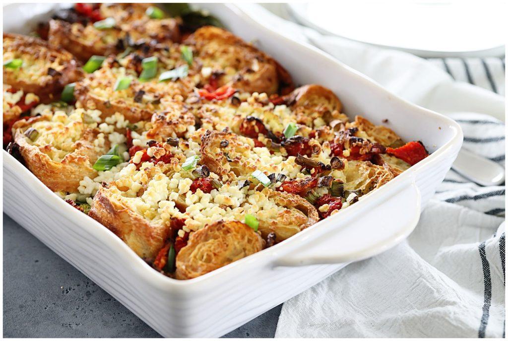 Vegetable Croissant Breakfast Casserole